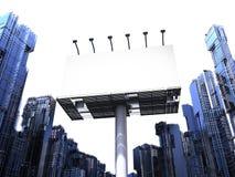 Leeg Aanplakbord met gebouwen Royalty-vrije Stock Afbeeldingen