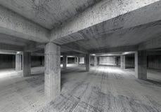 Leeg abstract industrieel concreet binnenland 3d Stock Foto