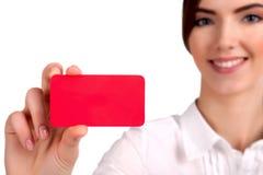 Leeg adreskaartje in een hand - Voorraadbeeld Royalty-vrije Stock Foto