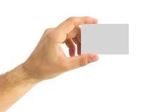 Leeg adreskaartje in een menselijke hand Royalty-vrije Stock Afbeelding