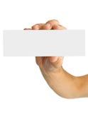Leeg adreskaartje in een menselijke hand Royalty-vrije Stock Afbeeldingen