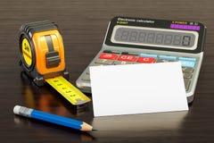 Leeg adreskaartje voor aannemers, ingenieurs of bouwers op de houten bureauachtergrond het 3d teruggeven stock illustratie