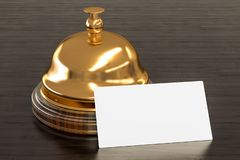 Leeg adreskaartje voor hotels op de houten bureauachtergrond het 3d teruggeven vector illustratie