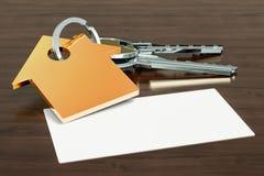 Leeg adreskaartje voor makelaar in onroerend goed, makelaar of makelaar in onroerend goed op de houten bureauachtergrond het 3d t vector illustratie