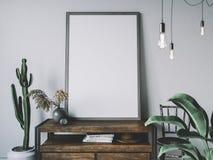Leeg affichekader in comfortabel binnenland Kadermodel stock fotografie
