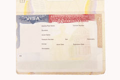 Leeg Amerikaans visum royalty-vrije stock afbeelding
