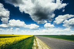 Leeg Asphalt Countryside Road Through Fields met Stock Fotografie