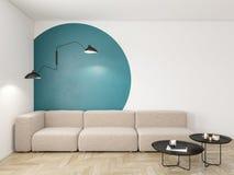 Leeg binnenland met blauwe geometrische druk op de muur Bank, koffietafel en houten vloer vector illustratie