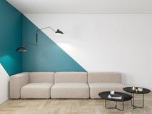 Leeg binnenland met blauwe geometrische druk op de muur Bank, koffietafel en houten vloer royalty-vrije illustratie