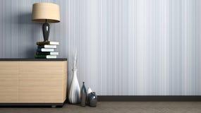 Leeg binnenland met vazen en lamp 3D Illustratie Stock Foto