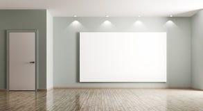 Leeg binnenland van ruimte met het grote affiche en deur 3d teruggeven Stock Afbeeldingen