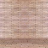 Leeg binnenlands perspectief met de muur van de baksteentegel Stock Foto