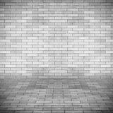 Leeg binnenlands perspectief met de muur van de baksteentegel Stock Afbeeldingen