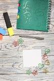 Leeg blad van document, blocnote, pen en andere levering Royalty-vrije Stock Afbeelding