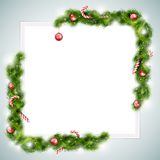 Leeg Blad van Document met Kerstmisattributen Royalty-vrije Stock Afbeeldingen