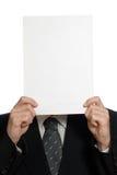 Leeg blad van document over gezicht Stock Afbeeldingen