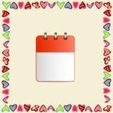Leeg blad van kalender in een kader van harten op gele achtergrond vector illustratie