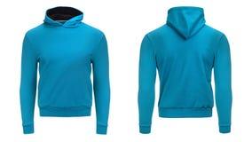 Leeg blauw hoodiesweatshirt met het knippen van weg, de trui van mensen voor uw ontwerpmodel en malplaatje voor druk, witte achte stock foto