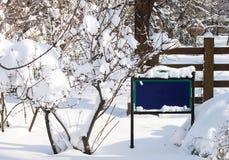 Leeg blauw teken in de sneeuw stock fotografie