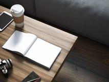 Leeg boek op de houten lijst het 3d teruggeven Stock Fotografie