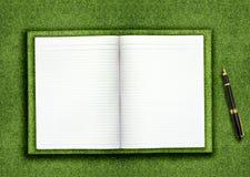 Leeg boek op gras Royalty-vrije Stock Afbeeldingen