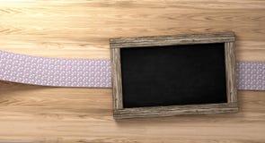 Leeg bord op rustieke houten achtergrond met lijnband het 3d Teruggeven Stock Afbeelding