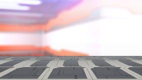 Leeg bureau ruimteplatform met van Onduidelijk beeld sc.i-FI 3d illustratie Als achtergrond vector illustratie
