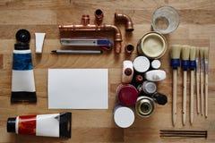 Leeg canvas in centrum van creatieve nut Stock Foto