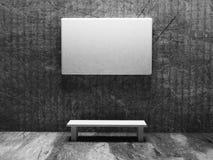 Leeg canvas op de muur, grunge 3d stijl, Stock Foto's