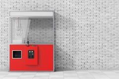 Leeg Carnaval Rood Toy Claw Crane Arcade Machine het 3d teruggeven Stock Afbeelding