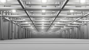 Leeg commercieel pakhuis met heldere lampen stock illustratie