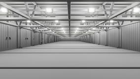 Leeg commercieel pakhuis met heldere lampen vector illustratie