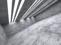 Leeg concreet ruimtebinnenland De achtergrond van de architectuur Royalty-vrije Stock Fotografie