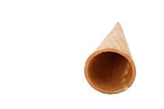 Leeg die de kegelroomijs van de suikerwafel op witte achtergrond wordt geïsoleerd Royalty-vrije Stock Afbeelding