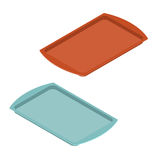 Leeg dienblad voor voedsel Plastic presenteerblad voor maaltijd keukengerei pan royalty-vrije illustratie