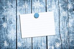 Leeg document blad met speld op sneeuwplanken Royalty-vrije Stock Foto's