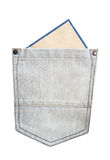 Leeg document in de jeanszak Stock Afbeelding