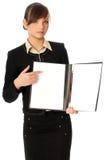 Leeg document in houder Stock Foto's
