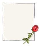 Leeg document met het rode rozen schilderen Stock Afbeeldingen