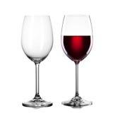 Leeg en volledig die glas wijn op wit wordt geïsoleerd royalty-vrije stock foto