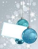 Leeg etiket met de Ballen van Kerstmis Royalty-vrije Stock Fotografie