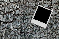 Leeg fotoframe op houten achtergrond Stock Afbeelding
