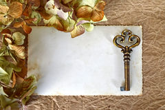 Leeg fotokader en oude sleutel Stock Foto's