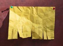 Leeg geel document stock afbeelding