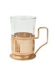Leeg glas in glas-houder Stock Foto's