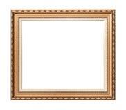 Leeg gouden uitstekend die kader op wit wordt geïsoleerd Stock Foto