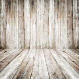 Leeg grungebinnenland van uitstekende ruimte - oude houten muur en houten vloer stock afbeelding