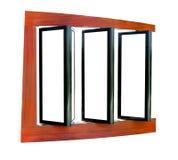 Leeg houten aanplakbord drie dat op wit wordt geïsoleerd Stock Afbeelding