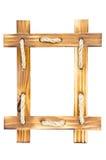 Leeg houten die fotokader op wit wordt geïsoleerd royalty-vrije stock fotografie