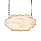 Leeg houten die teken met ketting op witte achtergrond wordt geïsoleerd Stock Afbeelding